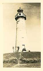 1940s picture postcard of the historic Port Isabel Lighthouse.
